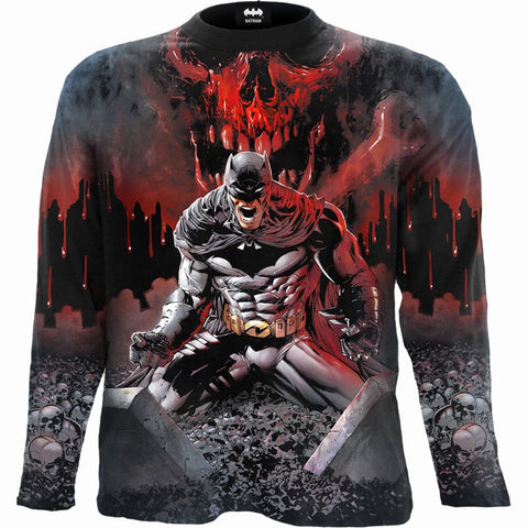 BATMAN - ASYLUM WRAP - Allover Longsleeve T-Shirt Black
