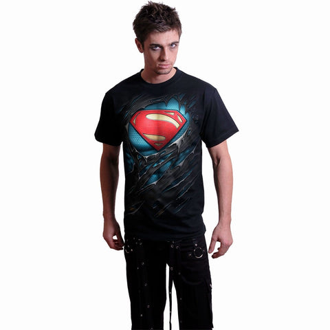 Image of SUPERMAN - RIPPED - T-Shirt Black - Spiral USA