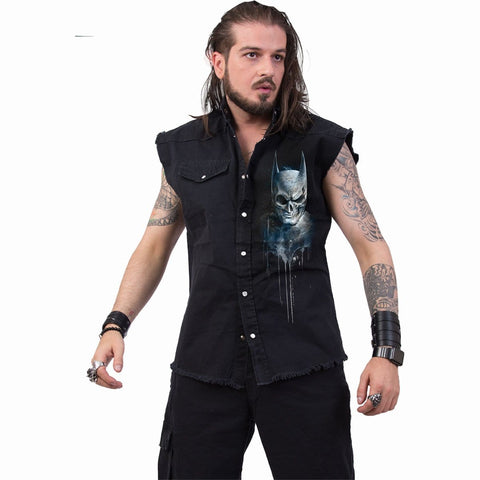 BATMAN - NOCTURNAL - Sleeveless Stone Washed Worker Black - Spiral USA