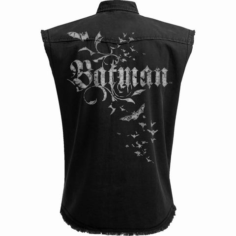 BATMAN - GOTHIC - Sleeveless Stone Washed Worker Black - Spiral USA