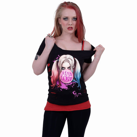 HARLEY QUINN - MAD LOVE - 2in1 Red Ripped Top Black - Spiral USA
