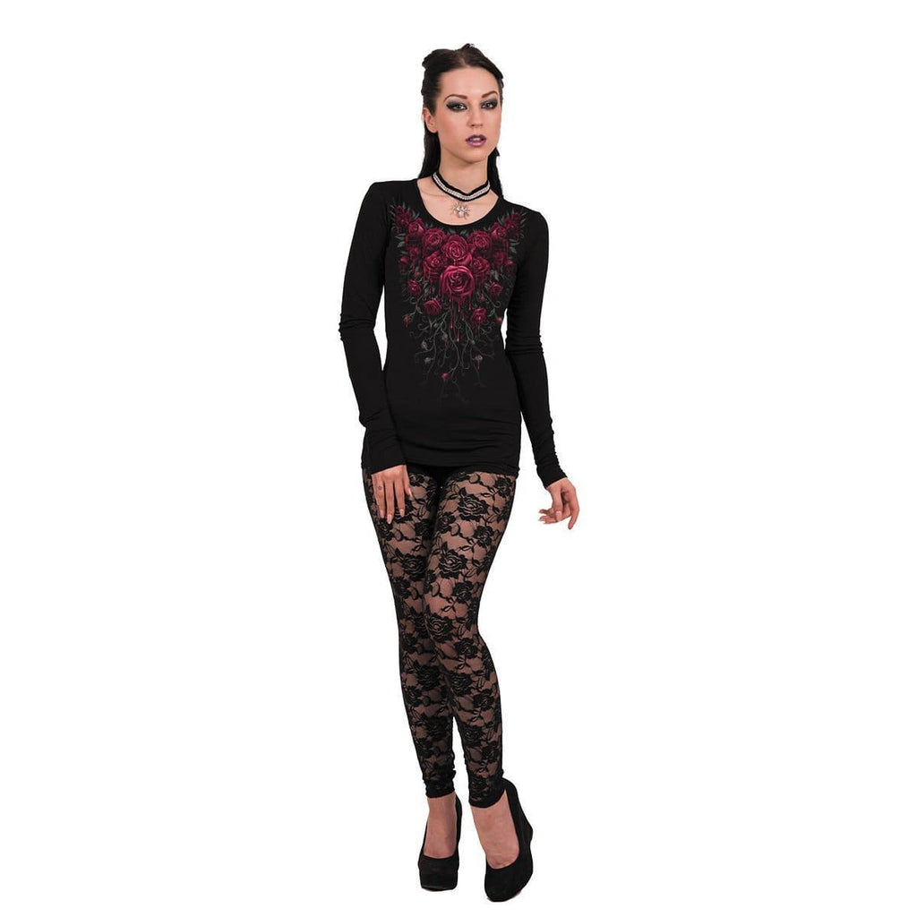BLOOD ROSE - Baggy Top Black - Spiral USA