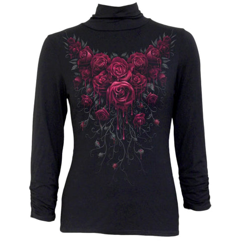 Image of BLOOD ROSE - High Neck Crinkle Sleeve Top - Spiral USA
