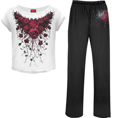 BLOOD ROSE - 4pc Gothic Pyjama Set - Spiral USA