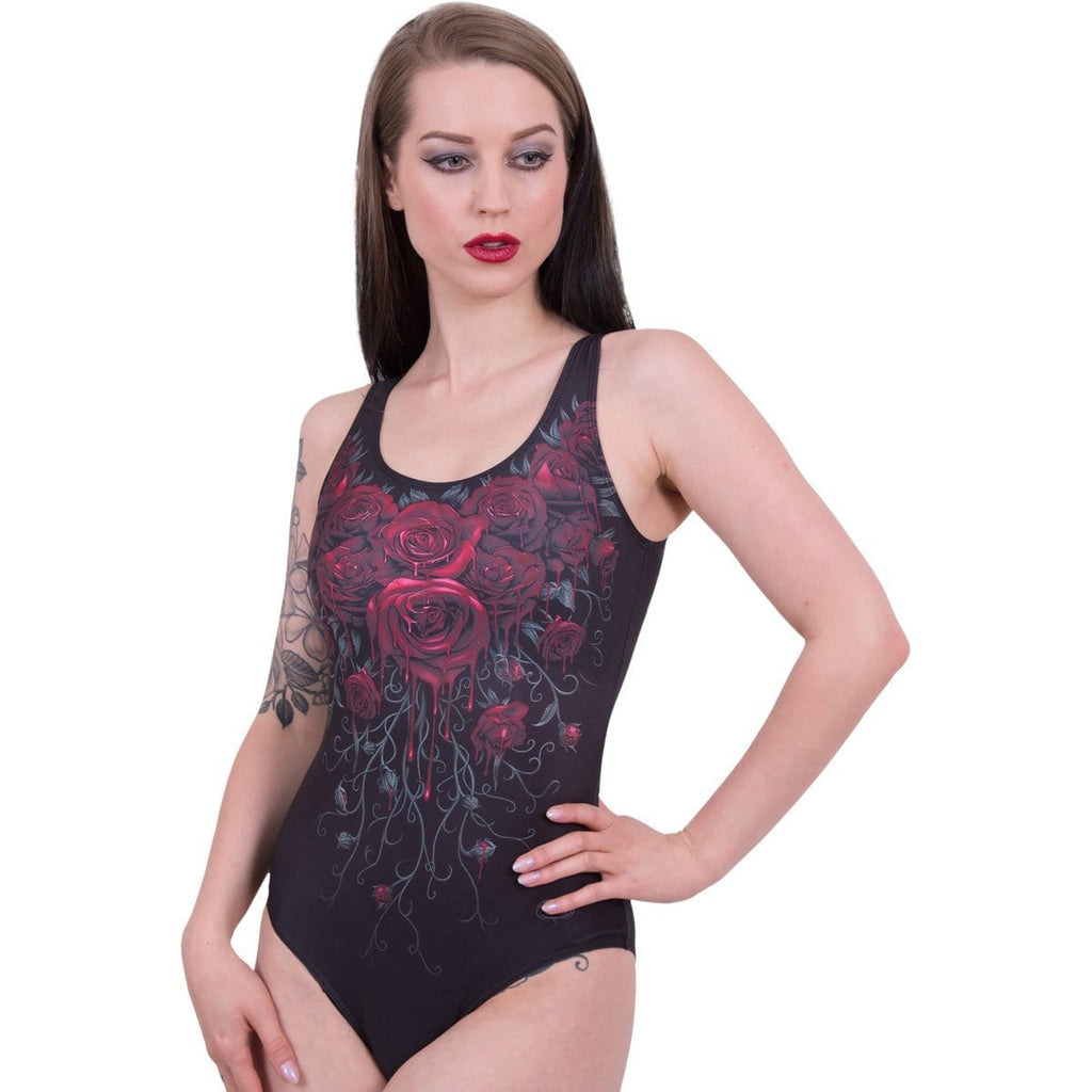 BLOOD ROSE - Allover Scoop Back Padded Swimsuit - Spiral USA