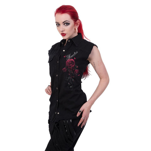 Image of DAY OF THE DEAD - Sleeveless Worker Shirt Black - Spiral USA