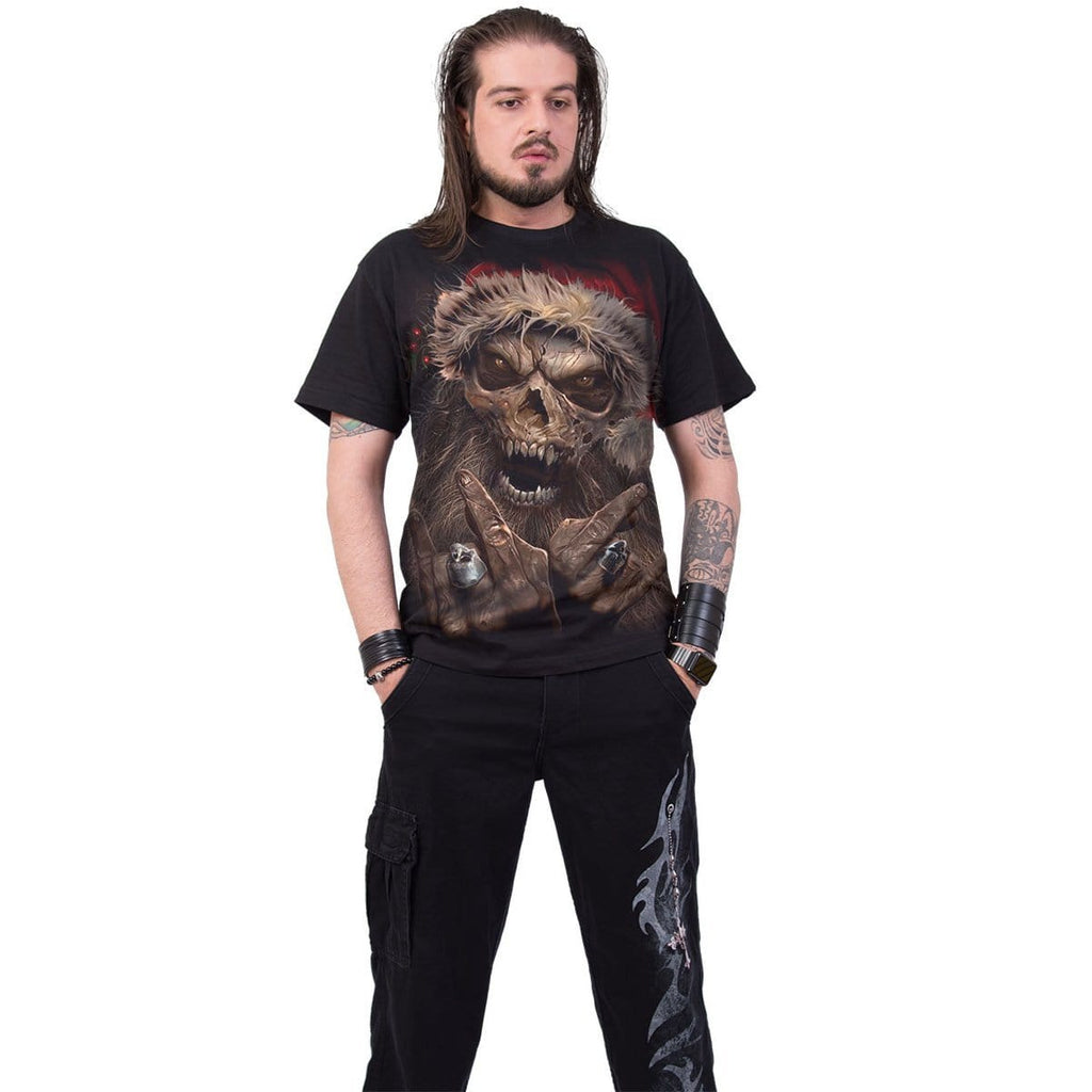 ROCK SANTA - T-Shirt Black - Spiral USA