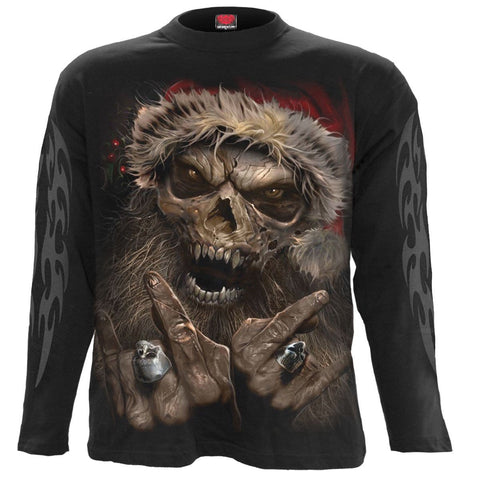 Image of ROCK SANTA - Longsleeve T-Shirt Black - Spiral USA