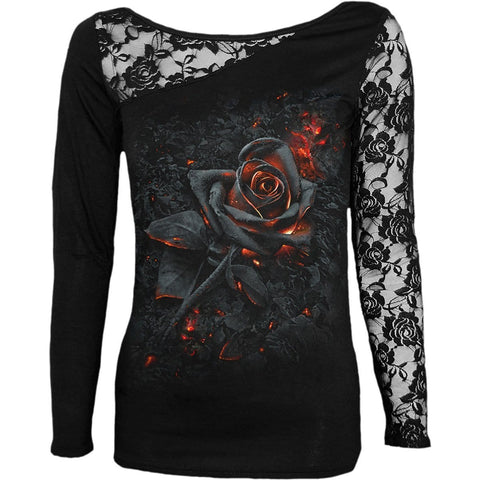 BURNT ROSE - Lace One Shoulder Top Black - Spiral USA