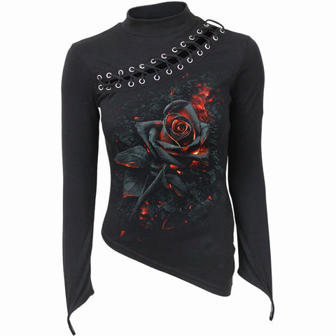BURNT ROSE - Slant Lace Up Longsleeve Top - Spiral USA