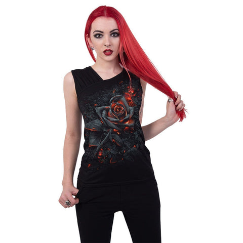 BURNT ROSE - Gathered Shoulder Slant Vest Black - Spiral USA