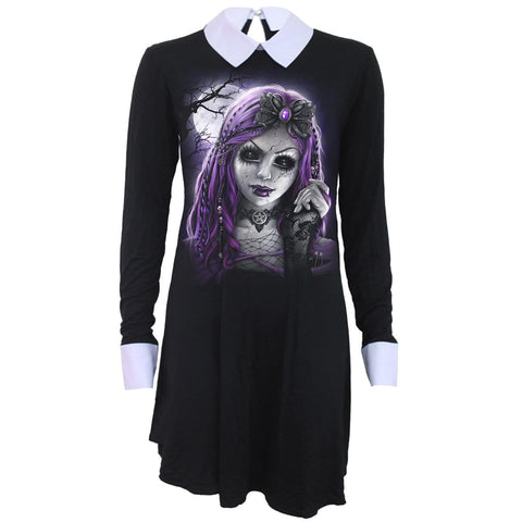 Image of GOTH DOLL - PeterPan Collar Baby Doll LS Dress - Spiral USA