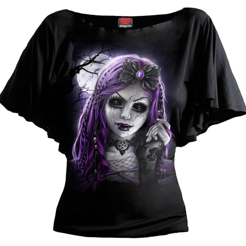 Image of GOTH DOLL - Boat Neck Bat Sleeve Top Black