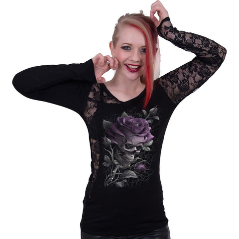 Image of SKULL ROSE - Lace One Shoulder Top Black - Spiral USA