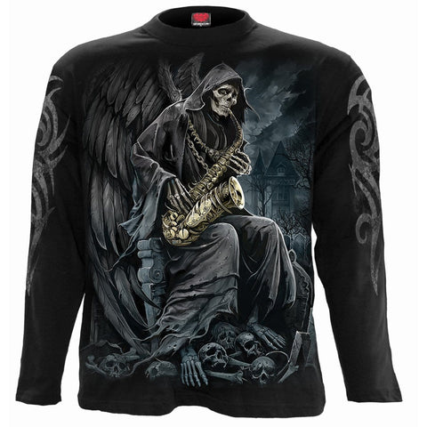 Image of REAPER BLUES - Longsleeve T-Shirt Black - Spiral USA