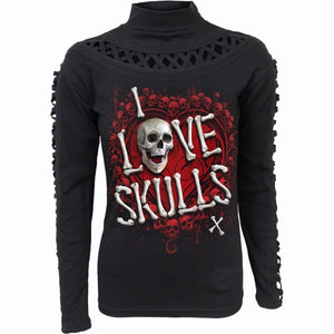 LOVE SKULLS - Waterfall Slits Longsleeve Top - Spiral USA