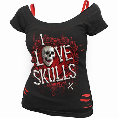 Image of LOVE SKULLS - 2in1 Red Ripped Top Black - Spiral USA