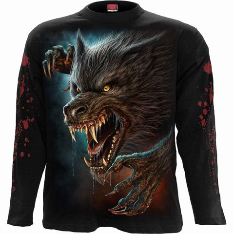 Image of WILD MOON - Longsleeve T-Shirt Black - Spiral USA