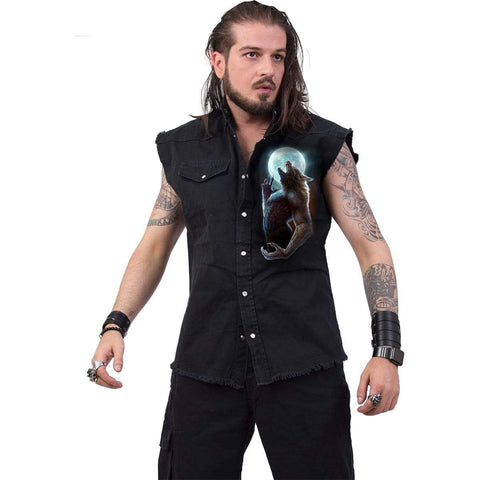 WILD MOON - Sleeveless Stone Washed Worker Black - Spiral USA