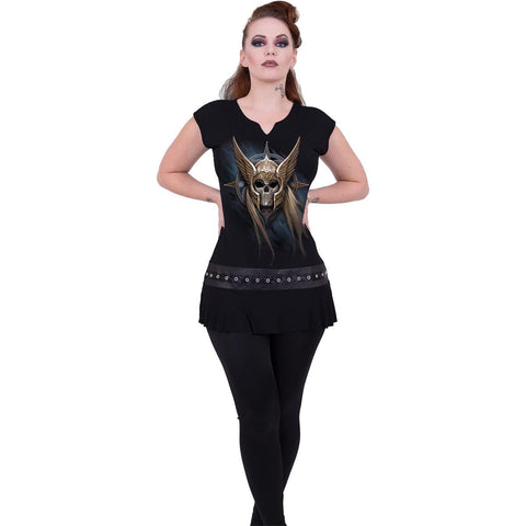 ANGEL WARRIOR - Stud Waist Mini Dress Black - Spiral USA