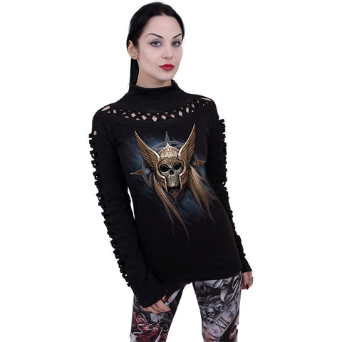 Image of ANGEL WARRIOR - Waterfall Slits Longsleeve Top - Spiral USA