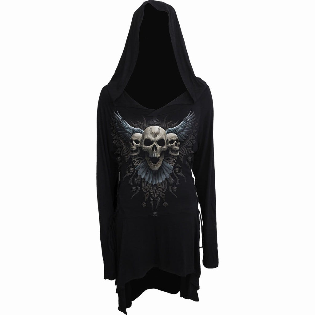 RAVEN SKULL - Black Widow Gothic Hooded Dress - Spiral USA