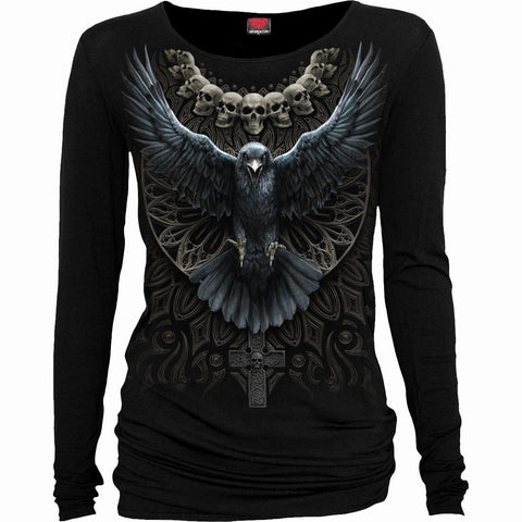 Image of RAVEN SKULL - Baggy Top Black - Spiral USA