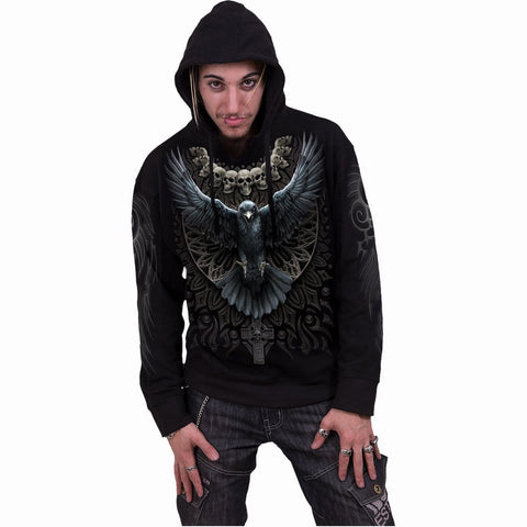 Image of RAVEN SKULL - Hoody Black - Spiral USA