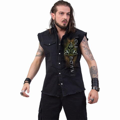 SELF ISOLATION - Sleeveless Stone Washed Worker Black - Spiral USA