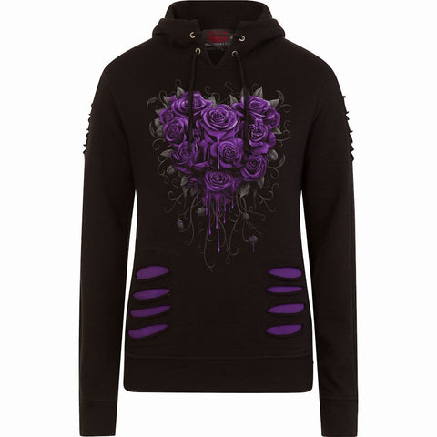 BLEEDING HEART - Large Hood Ripped Hoody Purple-Black - Spiral USA
