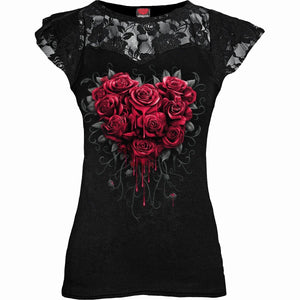 BLEEDING HEART - Lace Layered Cap Sleeve Top Black - Spiral USA