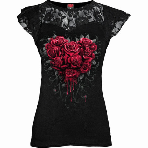 Image of BLEEDING HEART - Lace Layered Cap Sleeve Top Black - Spiral USA