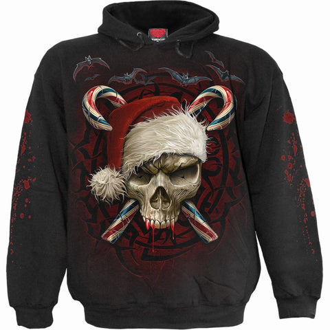 Image of CANDY CANE SANTA - Hoody Black - Spiral USA