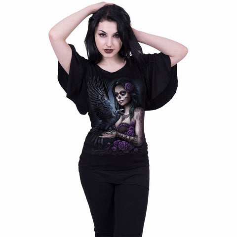 Image of DOTD RAVEN - Boat Neck Bat Sleeve Top Black - Spiral USA