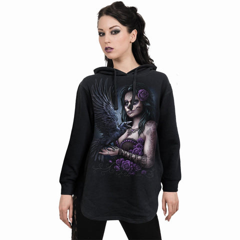 DOTD RAVEN - Ladies Dipped Hem Oversized Hoodie - Spiral USA