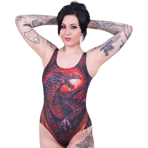 DRAGON FURNACE - Allover Scoop Back Padded Swimsuit - Spiral USA