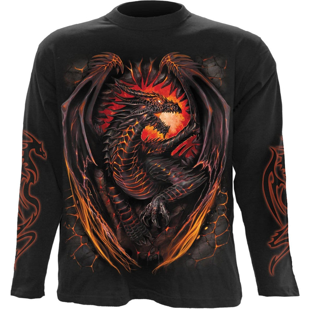 DRAGON FURNACE - Longsleeve T-Shirt Black - Spiral USA