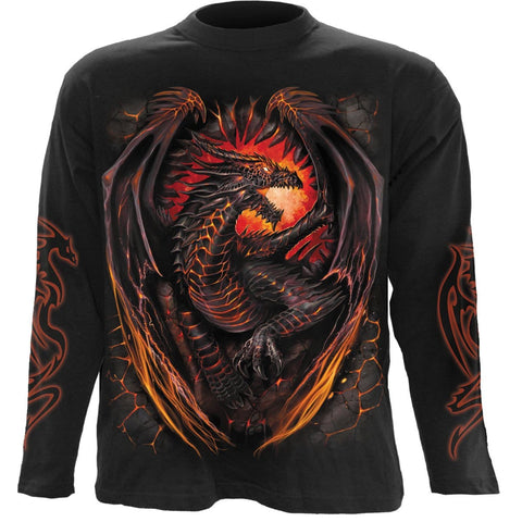 Image of DRAGON FURNACE - Longsleeve T-Shirt Black - Spiral USA