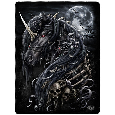 DARK UNICORN - Fleece Blanket with Double Sided Print - Spiral USA