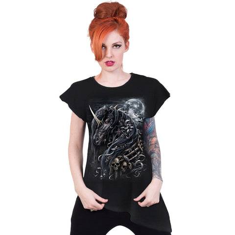 Image of DARK UNICORN - Raw Neck Asymmetric Viscose Top