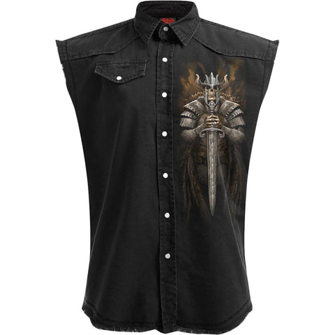 VIKING WARRIOR - Sleeveless Stone Washed Worker Black - Spiral USA