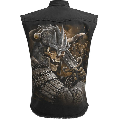 Image of VIKING WARRIOR - Sleeveless Stone Washed Worker Black