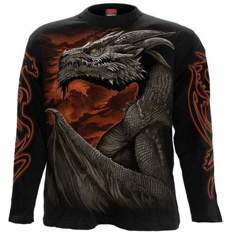 Image of MAJESTIC DRACO - Longsleeve T-Shirt Black - Spiral USA