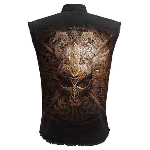 VIKING SHIELD - Sleeveless Stone Washed Worker Black - Spiral USA