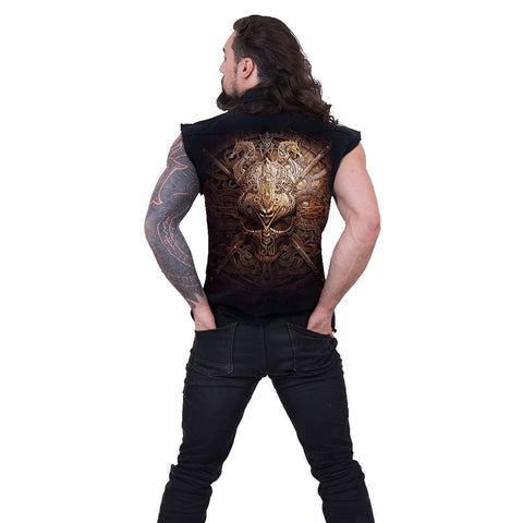 Image of VIKING SHIELD - Sleeveless Stone Washed Worker Black - Spiral USA
