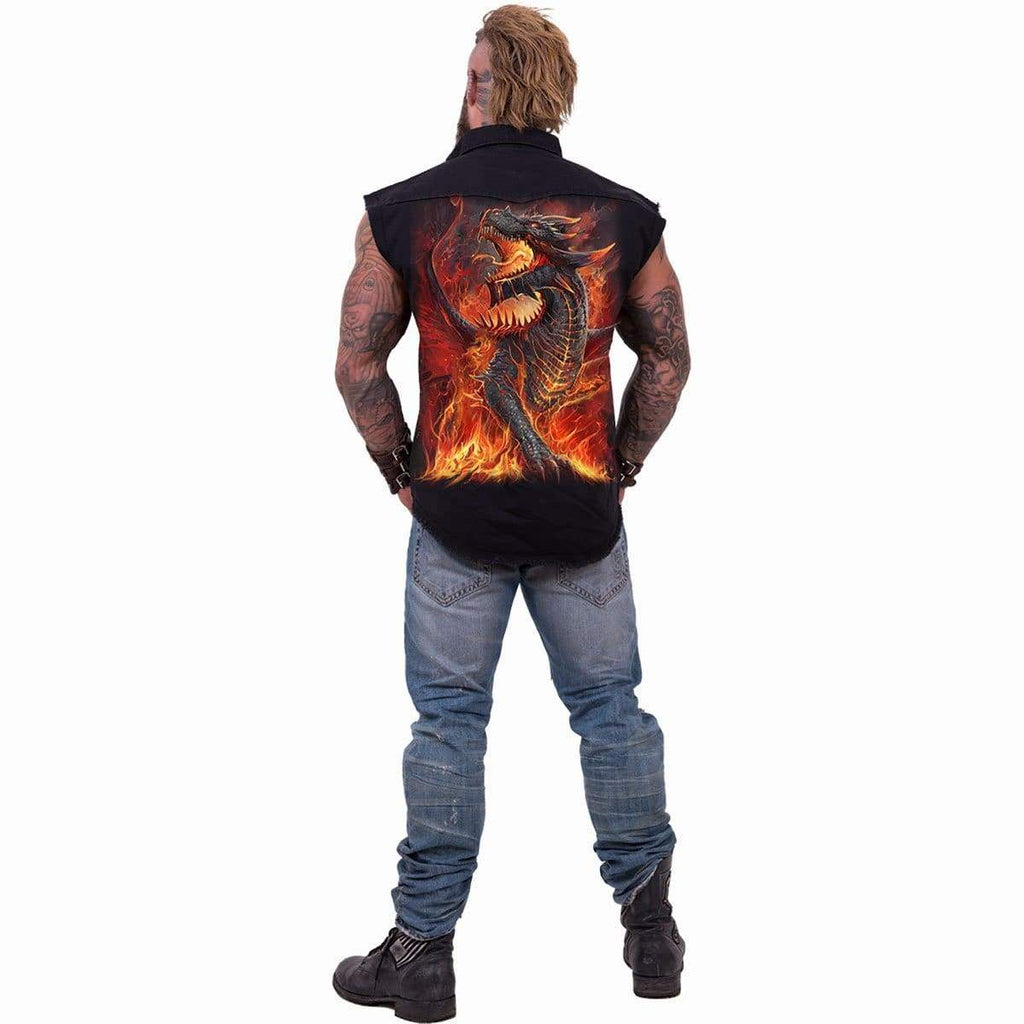 DRACONIS - Sleeveless Stone Washed Worker Black - Spiral USA