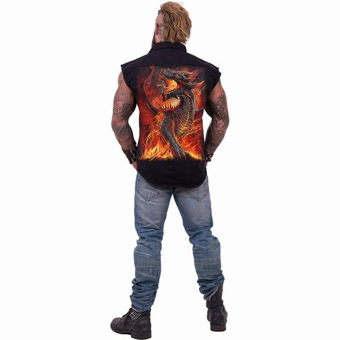 Image of DRACONIS - Sleeveless Stone Washed Worker Black - Spiral USA