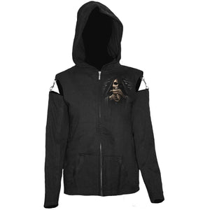 BONE FINGER - Mesh Sleeve Full Zip Hoody Black - Spiral USA
