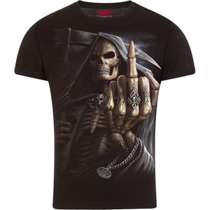BONE FINGER - T-Shirt Modern Cut Turnup Sleeve Black - Spiral USA