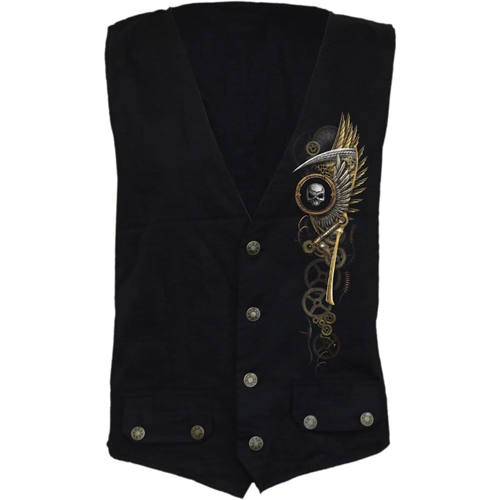 STEAM PUNK REAPER - Gothic Waistcoat Four Button with Lining - Spiral USA